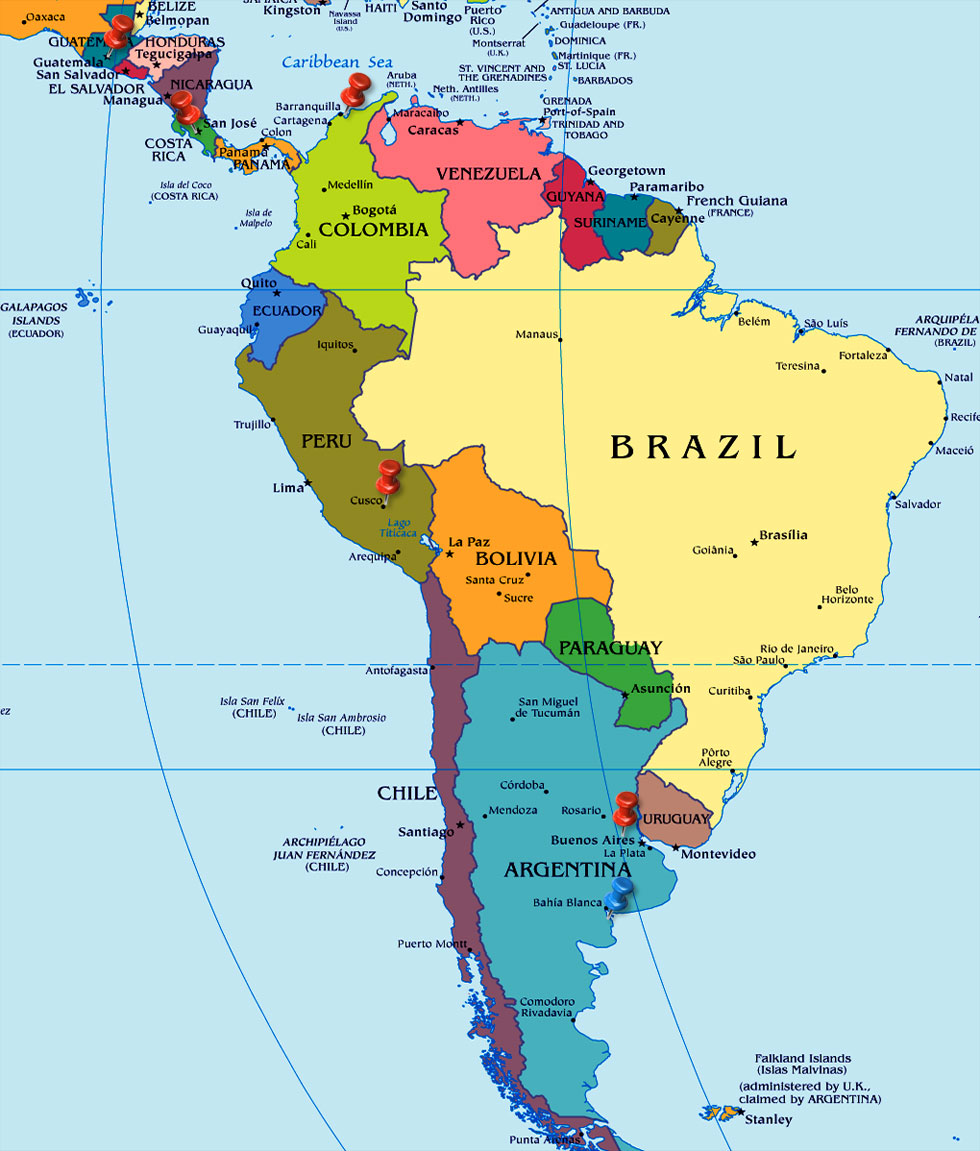 Map Of South America 2017.South America Map Airlines Airports