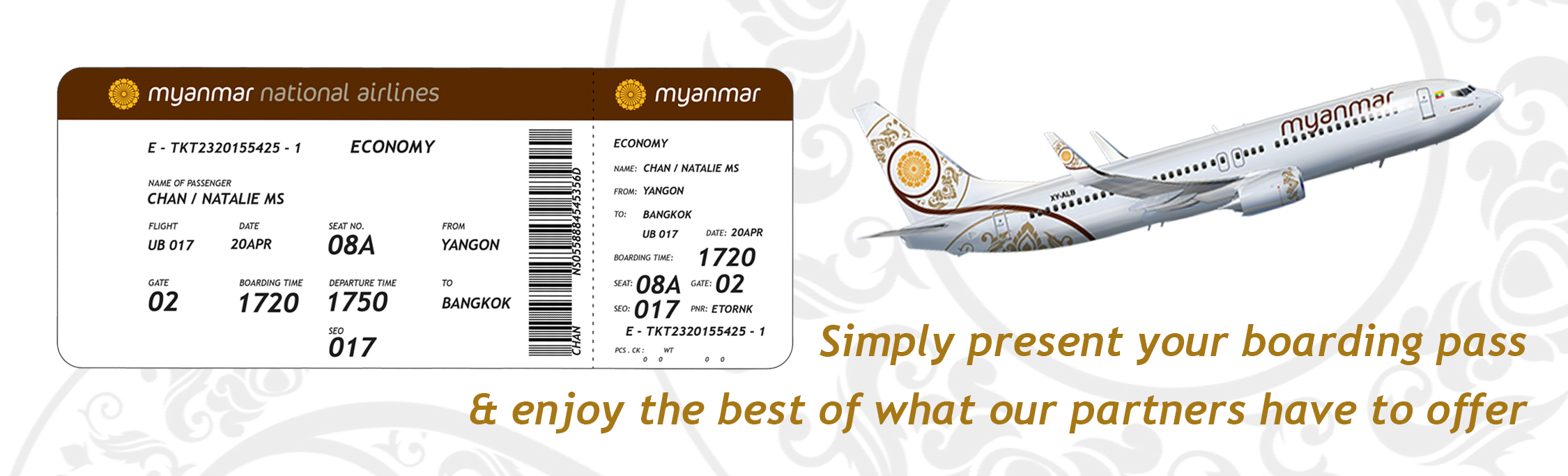 Myanmar National Airlines Boarding Pass Privilege Offer