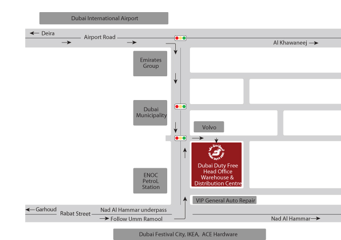 Dubai Duty free location map - Airlines-Airports